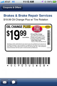 1999 oil change coupon