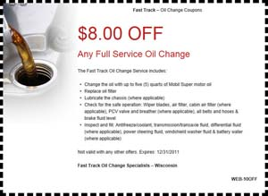 fast track oil change coupon