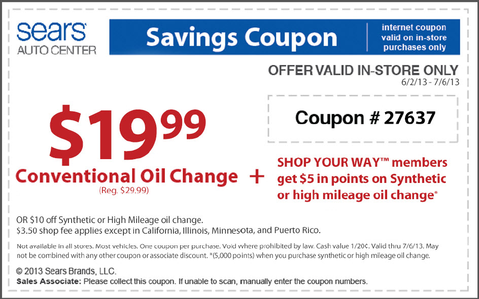 Does your vehicle use synthetic oil? By using a Sears oil change discount, you will only pay $ for a complete synthetic oil change. A Sears oil change will not damage your wallet and can help prolong the life of your car, truck or SUV. Get the Best Sears Oil Change Price. All you need to do is call and set up an appointment at your nearest participating Sears Auto Center and show them your coupon, %(12).