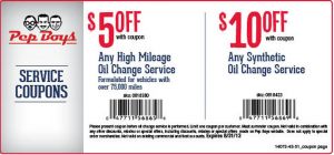 Pep Boys Oil Change Coupon August | Oil Change Coupons